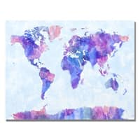 Michael Tompsett 'Watercolor World Map IV' Canvas Art - Multi
