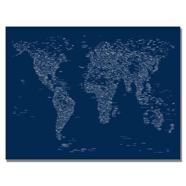 Michael Tompsett 'Font World Map' Canvas Art
