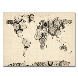 Michael Tompsett 'Old Clocks World Map' Canvas Art