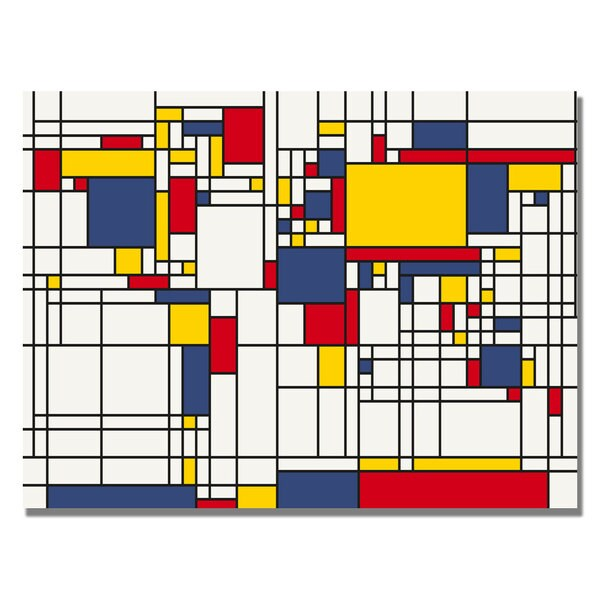 Michael Tompsett 'Mondrian World Map' Canvas Art