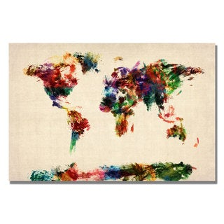 Michael Tompsett 'Abstract Painting World Map' Canvas Art