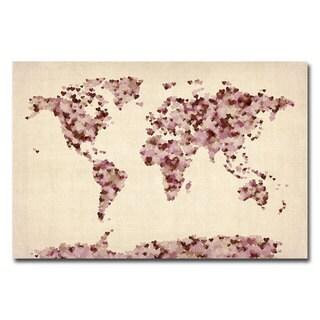 Michael Tompsett 'Vintage Hearts World Map' Canvas Art