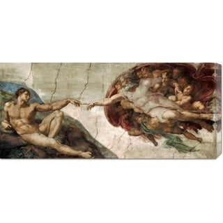 Global Gallery Michelangelo 'Creation of Adam (Detail)' Stretched Canvas Art