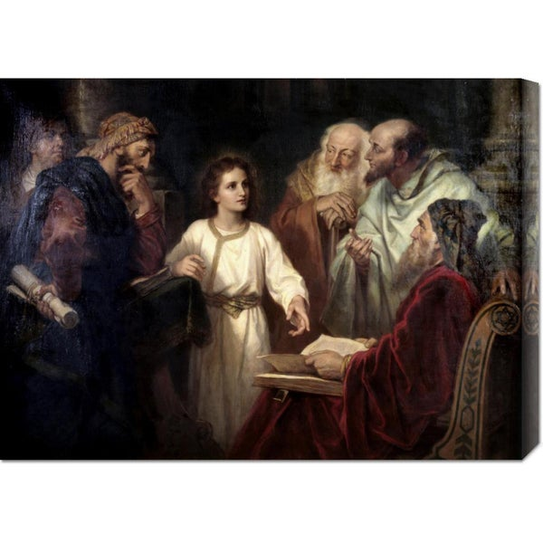 Global Gallery Heinrich Hofmann 'Christ in the Temple at 12' Stretched Canvas Art