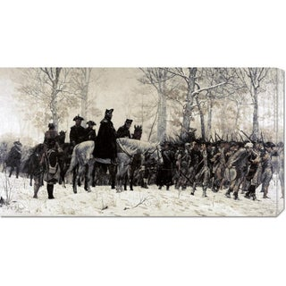 Global Gallery William T. Trego 'Washington Reviewing His Troops at Valley Forge' Stretched Canvas Art