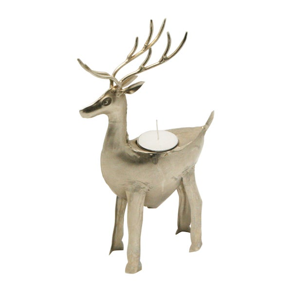 Handmade Iron Reindeer Tea Light Holder (India)