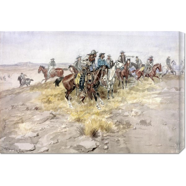 Global Gallery Charles M. Russell 'Cowboys' Stretched Canvas Art