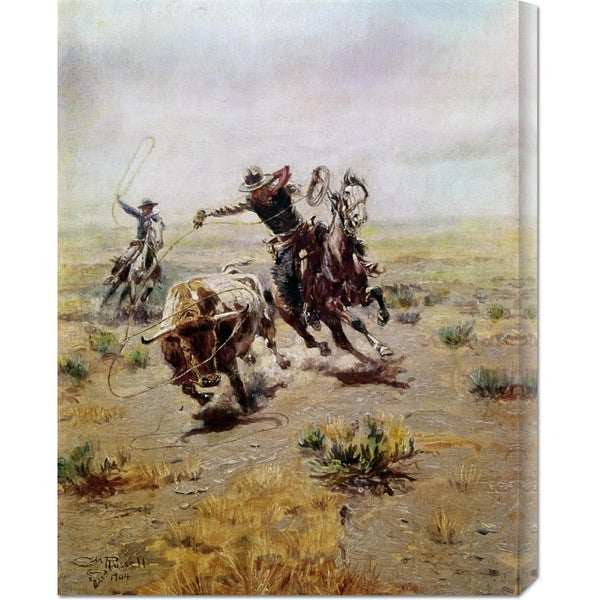 Global Gallery Charles M. Russell 'Cowboy Roping a Steer' Stretched Canvas Art