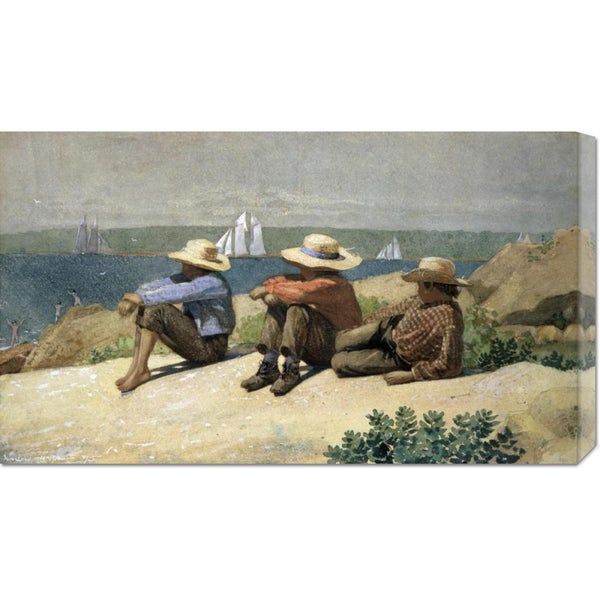 Global Gallery Winslow Homer 'On the Beach' Stretched Canvas Art
