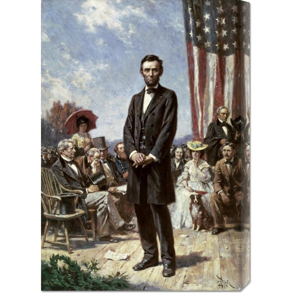 Global Gallery Jean Leon Gerome Ferris 'The Gettysburg Address' Stretched Canvas Art