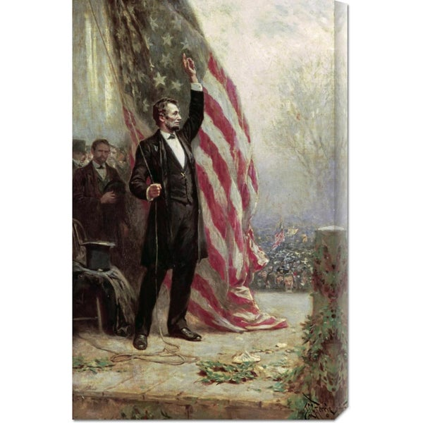 Global Gallery Jean Leon Gerome Ferris 'Lincoln at Independence Hall' Stretched Canvas Art