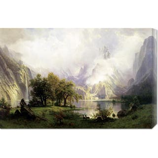 Global Gallery Albert Bierstadt 'View of Rocky Mountains' Stretched Canvas Art - Multi