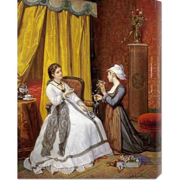 Global Gallery Auguste De Pinelli 'Flowers For The Lady' Stretched Canvas Art