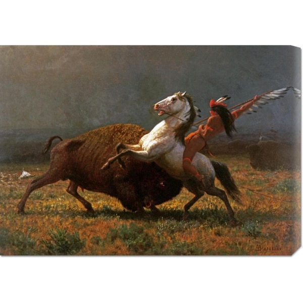 Global Gallery Albert Bierstadt 'The Last of The Buffalo' Stretched Canvas Art - Multi