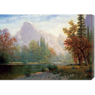 Global Gallery Albert Bierstadt 'Half Dome: Yosemite' Stretched Canvas Art - Green