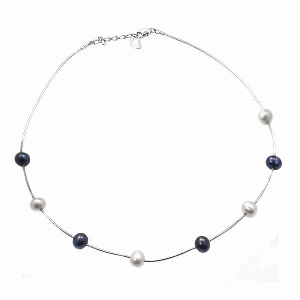 De Buman Sterling Silver Freshwater Pearl Necklace (7-8 mm)