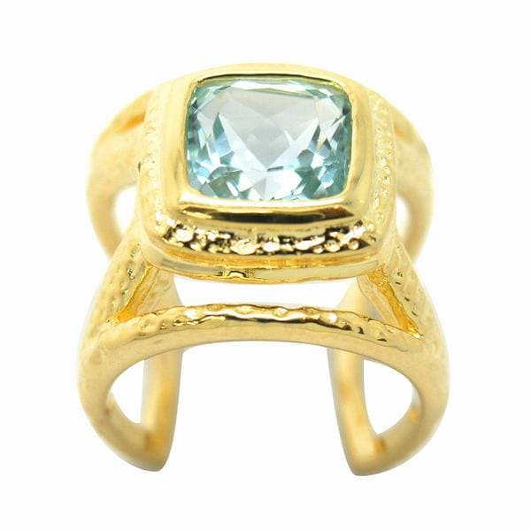 De Buman Gold over Sterling Silver Sky Blue Topaz Ring