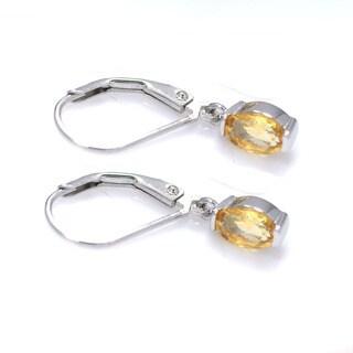 De Buman Sterling Silver Genuine Peridot, Citrine or Moonstone Gemstone Earrings