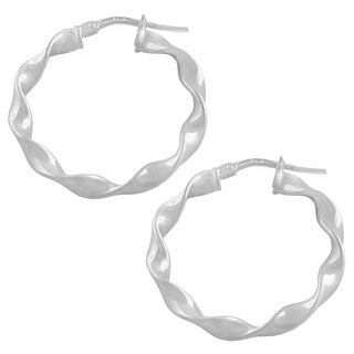 Fremada Sterling Silver 20-mm Round Twisted Hoop Earrings