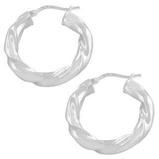Fremada Sterling Silver 15-mm Edge Twisted Hoop Earrings