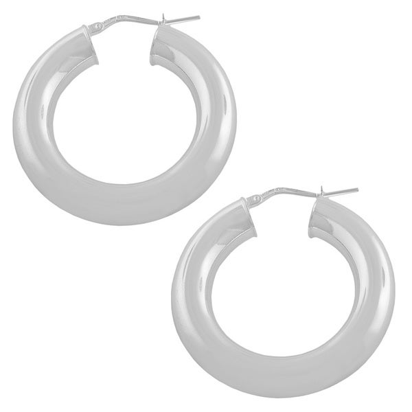 Fremada Sterling Silver 20-mm Round Polished Hoop Earrings
