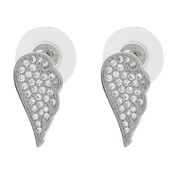 NEXTE Jewelry Silvertone Cubic Zirconia Angel Wing Stud Earrings