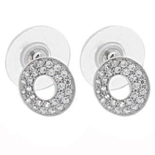 NEXTE Jewelry Silvertone Cubic Zirconia Kreiss Circle Earrings
