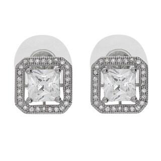 NEXTE Jewelry Silvertone Princess-cut Cubic Zirconia Stud Earrings