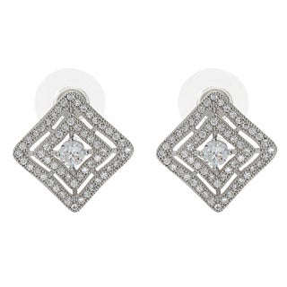 NEXTE Jewelry Silvertone Cubic Zirconia Double Square Stud Earrings