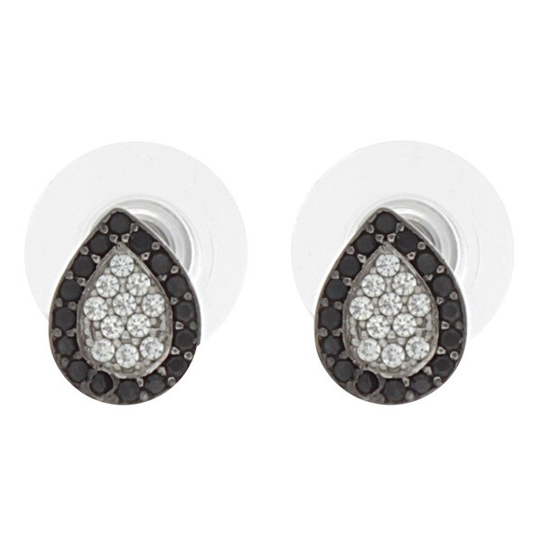 NEXTE Jewelry Silvertone White and Black Cubic Zirconia Pear Earrings