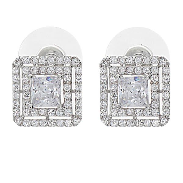 NEXTE Jewelry Silvertone Cubic Zirconia Double Square Halo Earrings
