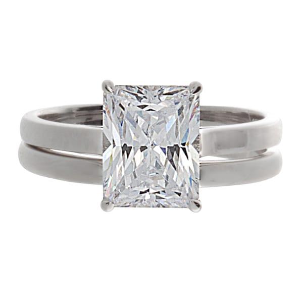 NEXTE Jewelry Silver Emerald-cut Cubic Zirconia 2-piece Ring Set
