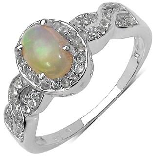Malaika Sterling Silver 3/4ct TGW Ethiopian Opal and White Topaz Ring