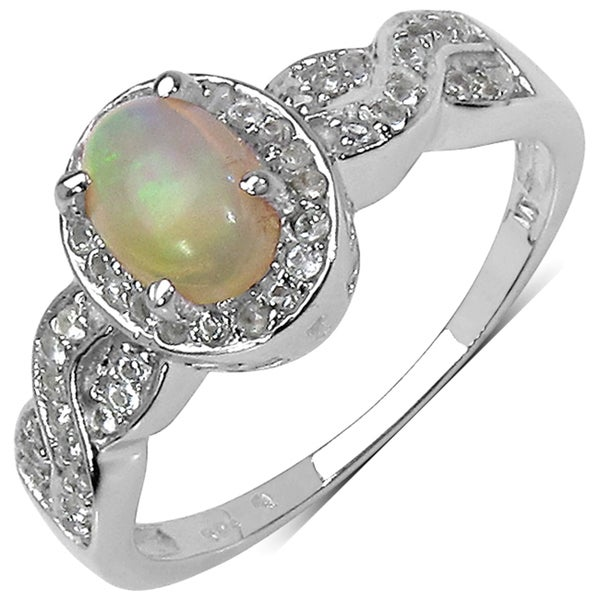 Malaika Sterling Silver 3/4ct TGW Ethiopian Opal and White Topaz Ring