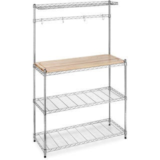 Supreme Chrome/ Wood Microwave Baker's Rack