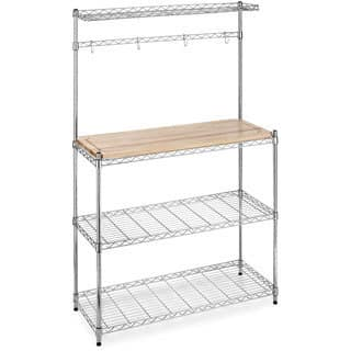 Supreme Chrome/ Wood Microwave Baker's Rack|https://ak1.ostkcdn.com/images/products/7569933/P14999330.jpg?impolicy=medium
