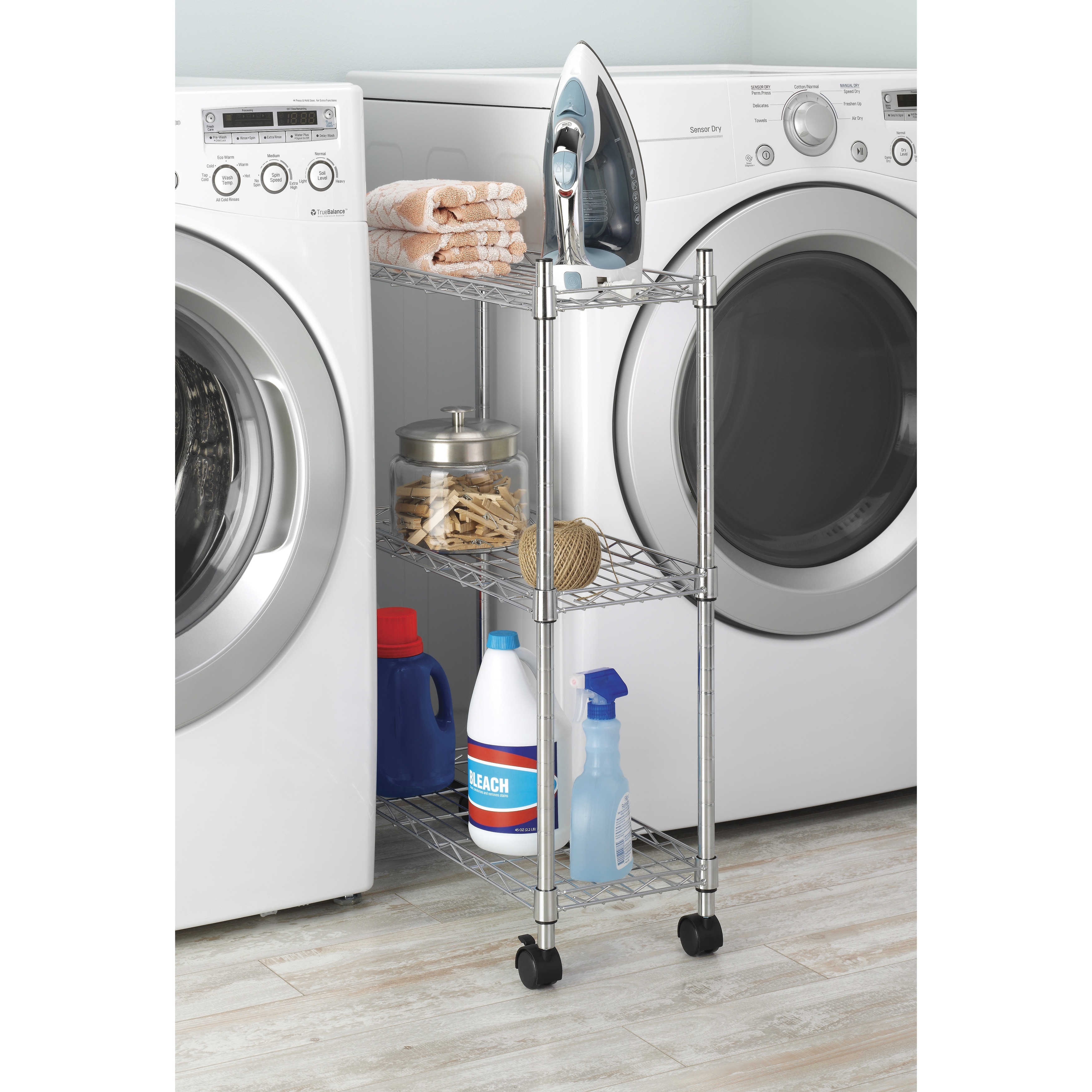 Whitmor 6056-53 Supreme 3-Tier Laundry Cart, Silver steel...