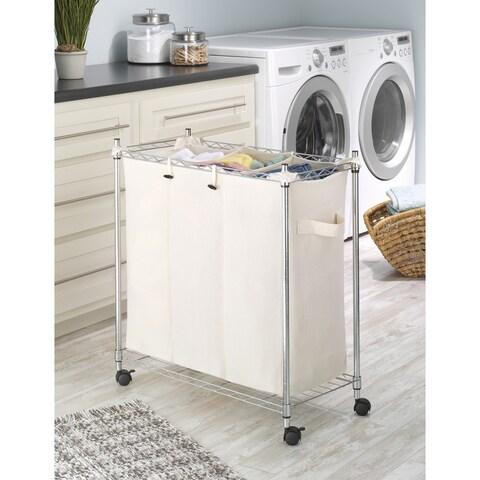 Whitmor 6056-545-HD Supreme Canvas/ Steel 3-compartment Laundry Sorter