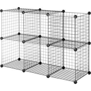 Elegant Black Steel Wire Storage Cubes (Set Of 6)