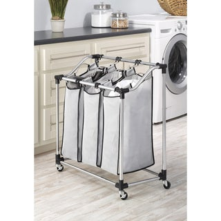 Whitmor 6862-3260 Chrome Mesh 3-Bag Laundry Sorter