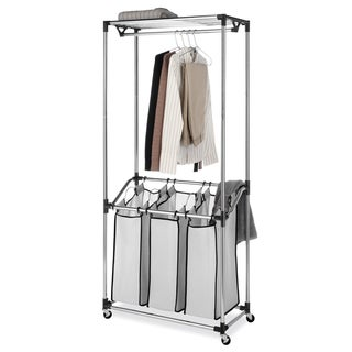 Whitmor 6862-3381 Chrome Mesh Bag 3-compartment Laundry Center