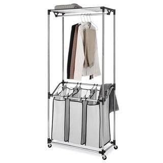 Whitmor 6862-3381 Chrome Mesh Bag 3-compartment Laundry Center