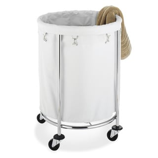 Whitmor 6894-3499-BB White/ Chrome Round Laundry Hamper