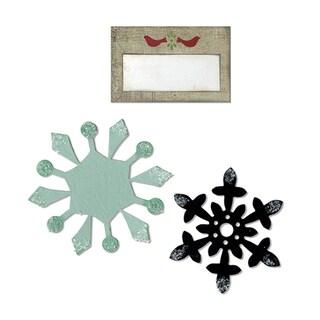 Sizzix Bigz Die w/Bonus Sizzlits Die - Snowflakes & Tag w/Birds