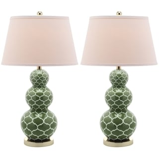 Safavieh Lighting 27-inch Moroccan Triple Gourd Green Table Lamps (Set of 2)
