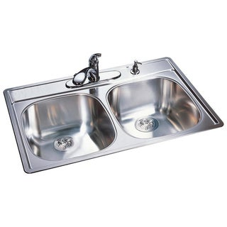 Franke Double Bowl Top Mount 9.5-inch Deep Stainless Steel Sink