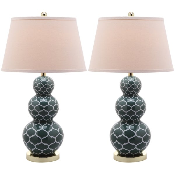 Safavieh Lighting 27-inch Moroccan Triple Gourd Marine Blue Table Lamps (Set of 2)