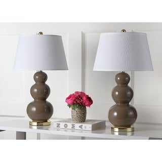 Safavieh Lighting 27-inch Amy Triple Gourd Taupe Table Lamp (Set of 2)