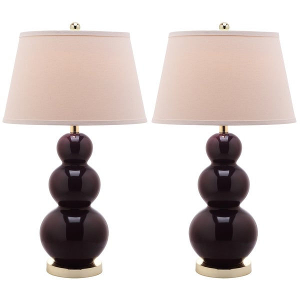 Safavieh Lighting 27-inch Amy Triple Gourd Dark Purple Table Lamps (Set of 2)
