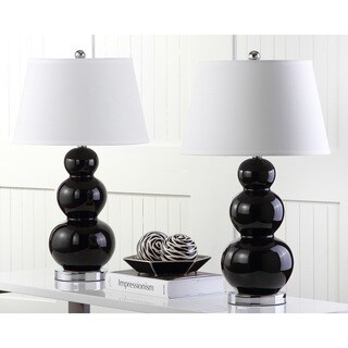 Safavieh Lighting 27-inch Amy Triple Gourd Black Table Lamp (Set of 2)